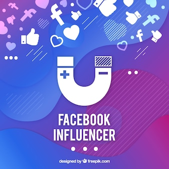 Fondo de influencer de facebook en colores degradados