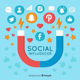 Fondo de influencer en redes social