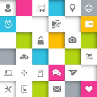 Fondo de infografía con cuadrados e iconos