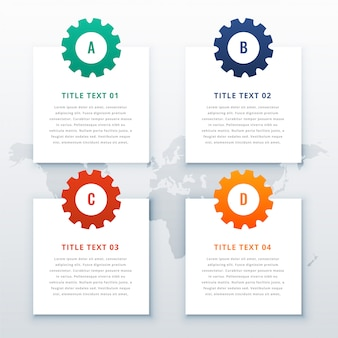 Fondo infografía engranajes con cuatro pasos.