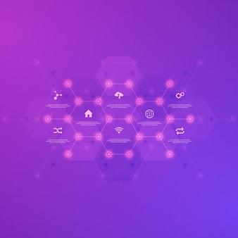 Fondo de infografía tecnológica con iconos y símbolos planos.
