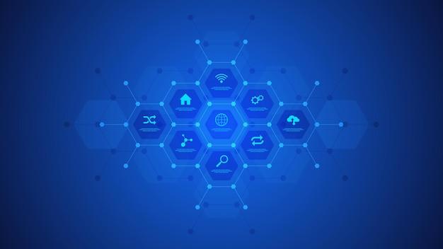 Fondo de infografía tecnológica con iconos y símbolos.