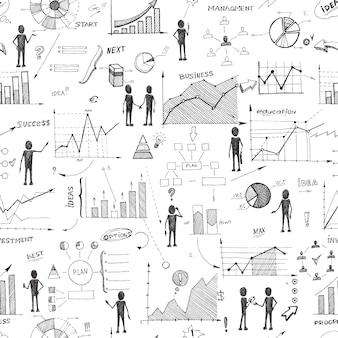 Fondo de infografía web doodle inconsútil