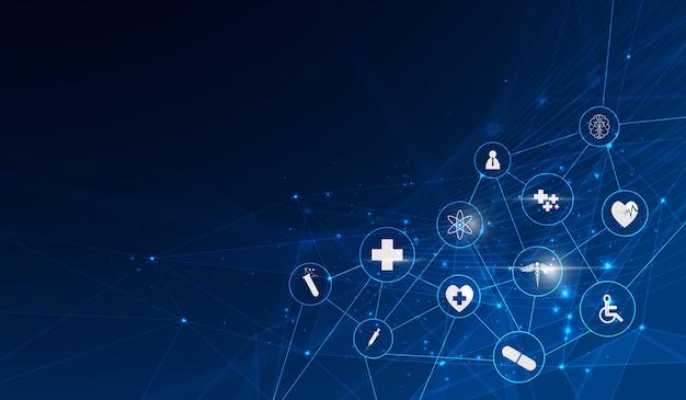 Fondo de innovación médica de patrón de icono de salud