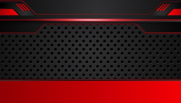 Fondo de innovación tecnológica de diseño de diseño de marco metálico abstracto negro rojo.