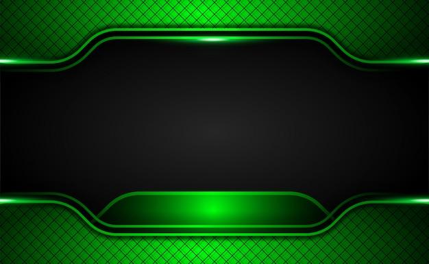 Fondo de innovación tecnológica de marco negro verde metálico oscuro abstracto con brillos y efecto de luz