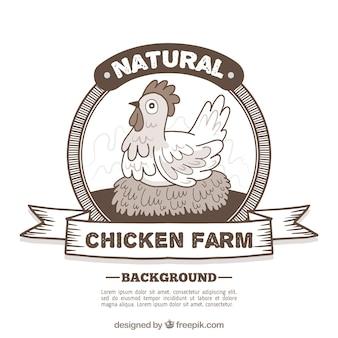 Fondo de insignia retro de gallina de granja