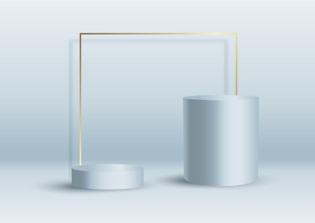 Fondo interior abstracto con podios de exhibición y marco dorado