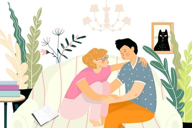 Fondo interior acogedor con dos jóvenes abrazándose sentados en el sofá en casa. los adolescentes primer beso o amor, relación romántica.