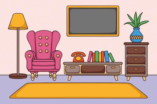 Fondo interior casero para videoconferencia