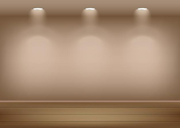 Fondo interior de la galería de arte iluminado e iluminado con focos pared vacía