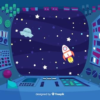 Fondo de interior de nave espacial con diseño plano