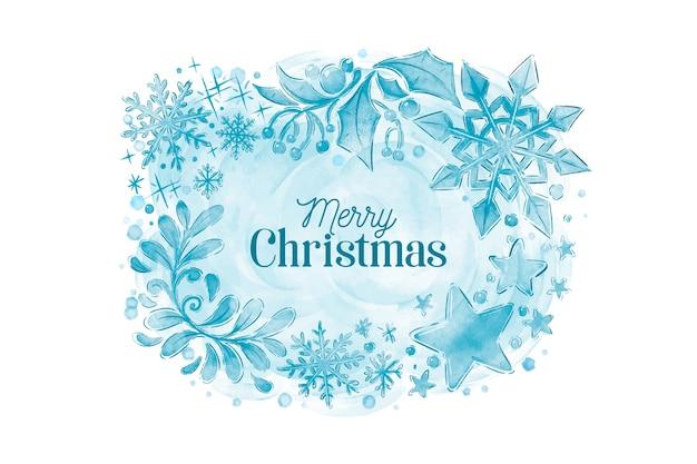 Fondo de invierno acuarela con feliz navidad