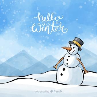 Fondo invierno acuarela muñeco de nieve