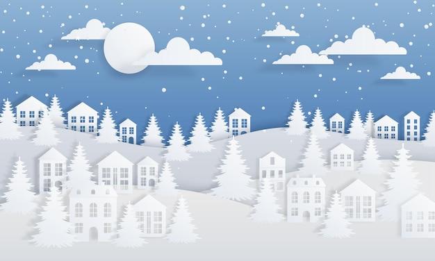 Fondo de invierno de artesanía de papel