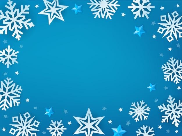 Fondo de invierno azul con copos de nieve