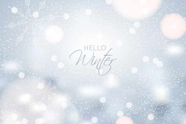 Fondo de invierno borroso con nieve