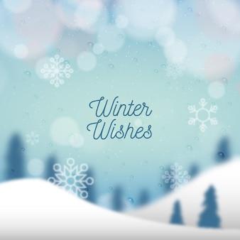 Fondo de invierno borroso con texto