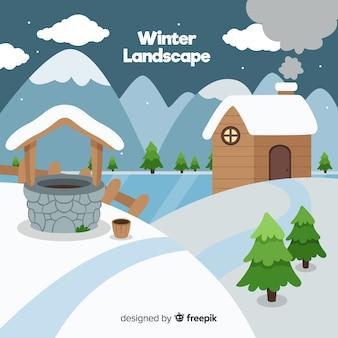 Fondo invierno cabaña y pozo