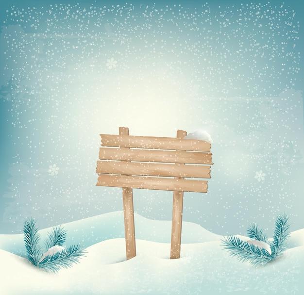 Fondo de invierno con cartel de madera y paisaje.