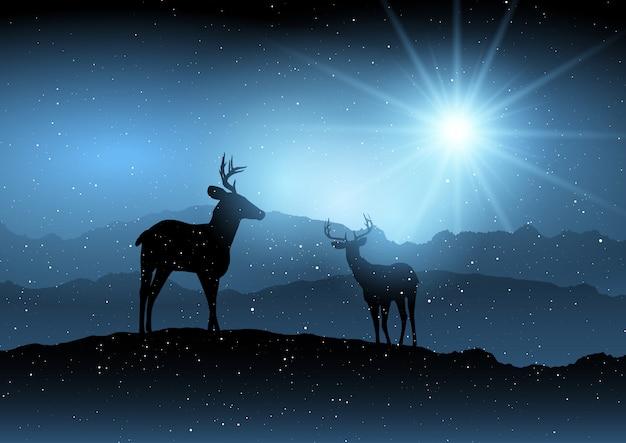 Fondo de invierno con ciervos.