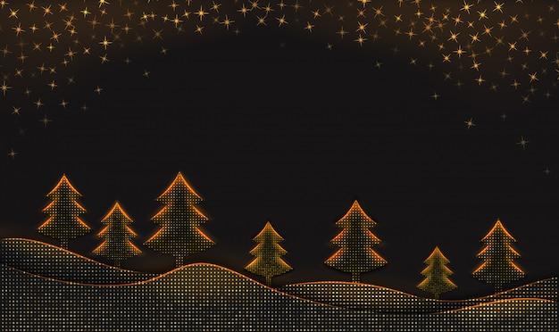 Fondo de invierno con copos de nieve y árboles de navidad en negro