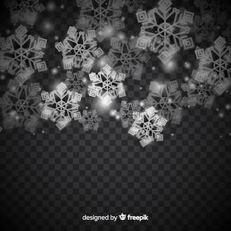Fondo de invierno con copos de nieve realistas