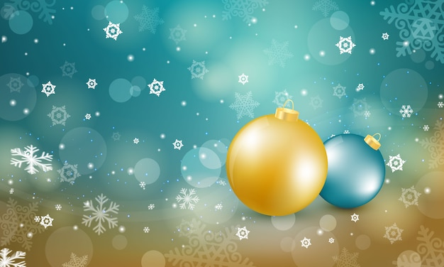 Fondo de invierno con decoración navideña y copos de nieve.