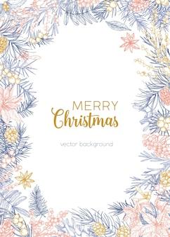 Fondo de invierno decorado con deseos de feliz navidad y marco hecho de ramas de coníferas, bayas de acebo y enebro, anís estrellado dibujado a mano con líneas de contorno sobre fondo blanco. ilustración.