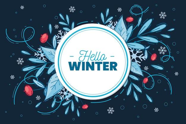 Fondo de invierno dibujado a mano con adornos florales