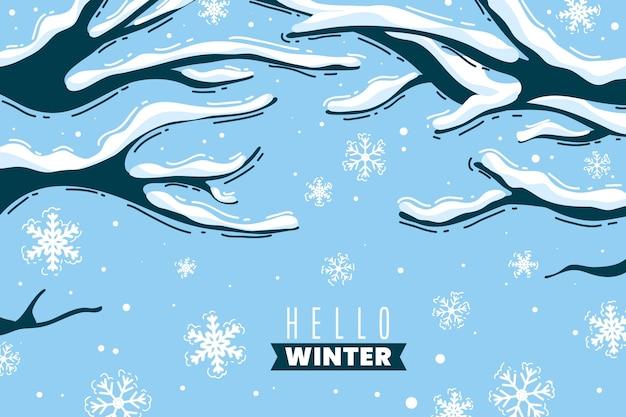 Fondo de invierno dibujado a mano con árboles