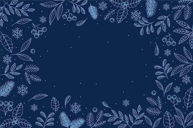 Fondo de invierno dibujado a mano con espacio vacío