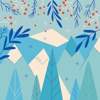 Fondo de invierno dibujado a mano