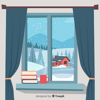Fondo de invierno en diseño plano