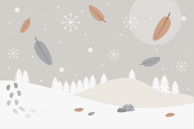 Fondo de invierno de diseño plano
