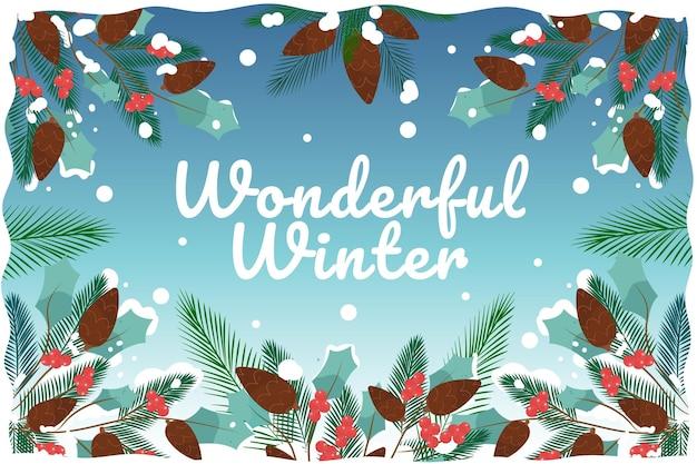 Fondo de invierno maravilloso dibujado a mano