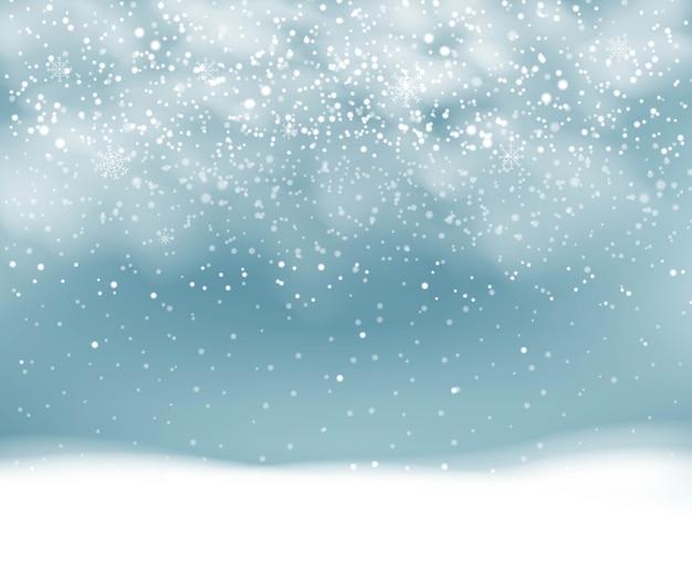 Fondo de invierno con nevadas con copos de nieve