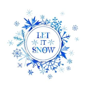 Fondo de invierno de nieve - copos de nieve de acuarela