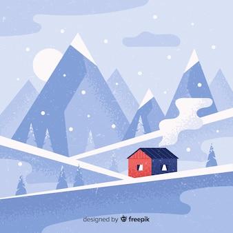 Fondo invierno paisaje dibujado a mano