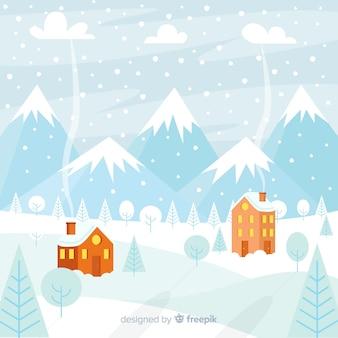 Fondo invierno paisaje nevando