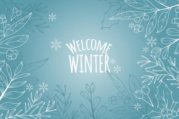 Fondo de invierno con saludo de bienvenida de invierno