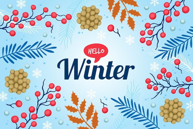 Fondo de invierno con saludo de hola invierno