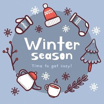 Fondo de invierno con texto de temporada de invierno