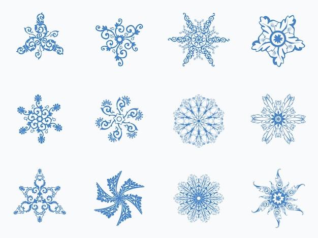 Fondo de invierno transparente con copos de nieve de navidad