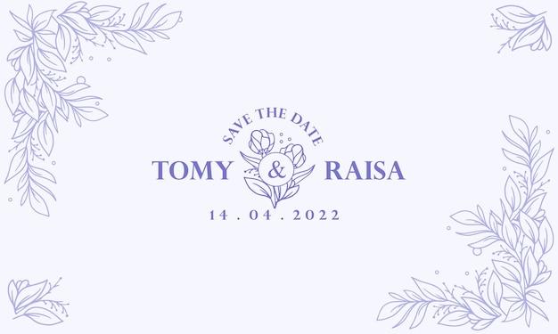 Fondo de invitación de boda floral dibujado mano azul vintage