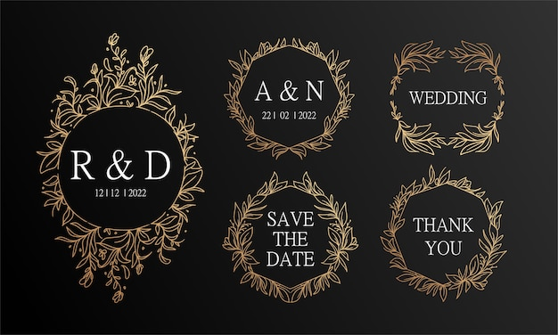Fondo de invitación de boda de guirnalda floral dibujada a mano vintage negro y dorado