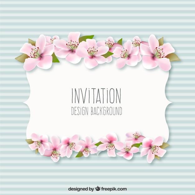 Fondo Invitación Con Flores Vector Gratis