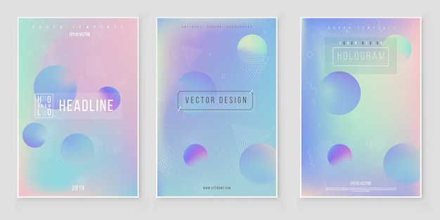 Fondo iridiscente gradiente de lámina holográfica conjunto holograma minimalista de moda brillante