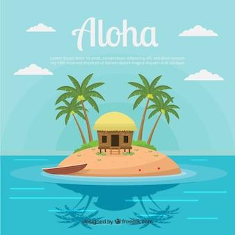 Fondo de isla hawaiana con palmeras