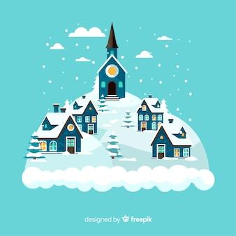 Fondo isla pueblo invierno